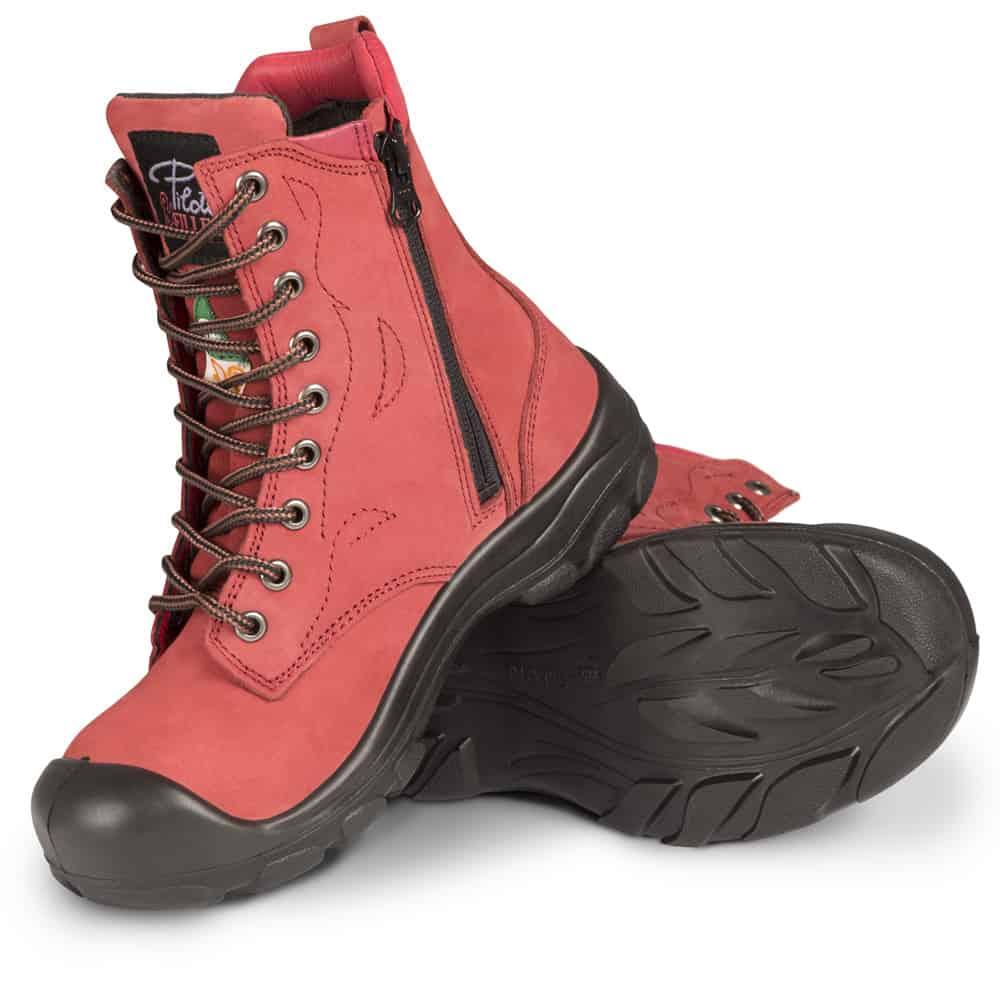 Bottes de sécurité à cap d'acier pour femme rouge -